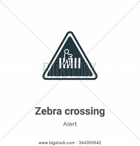 Zebra Crossing Vector Icon On White Background. Flat Vector Zebra Crossing Icon Symbol Sign From Mod