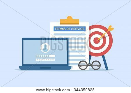 Terms Of Service Contract Document Signed,clipboard With Terms Of Service Document