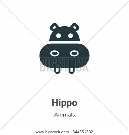 Hippo Vector Icon On White Background. Flat Vector Hippo Icon Symbol Sign From Modern Animals Collec