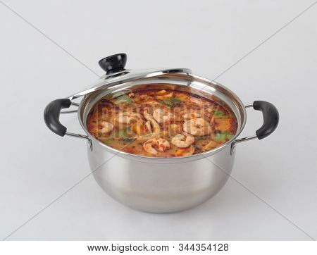 Tom Yum Kung ,spicy Shrimp Soup In The Pot, Famous Thai Food
