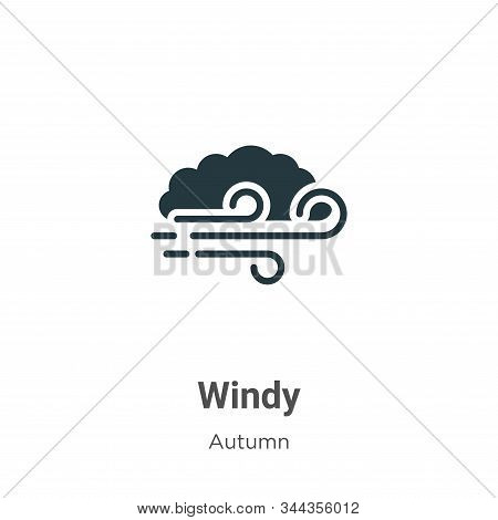 Windy Vector Icon On White Background. Flat Vector Windy Icon Symbol Sign From Modern Autumn Collect