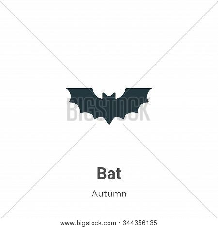 Bat Vector Icon On White Background. Flat Vector Bat Icon Symbol Sign From Modern Autumn Collection