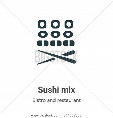 Sushi Mix Vector Icon On White Background. Flat Vector Sushi Mix Icon Symbol Sign From Modern Bistro