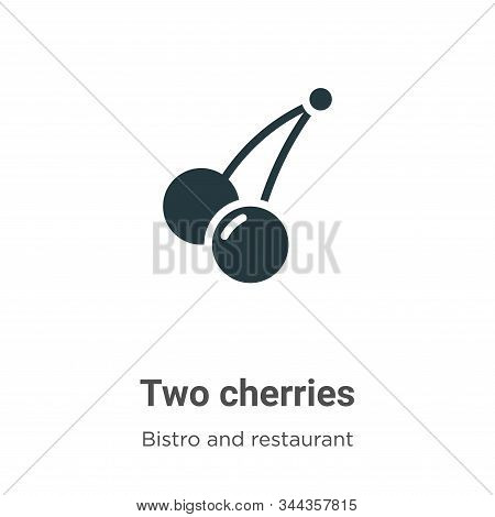 Two cherries icon isolated on white background from bistro and restaurant collection. Two cherries i