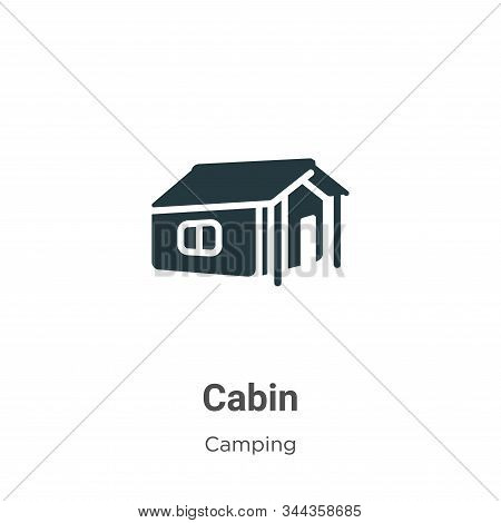 Cabin Vector Icon On White Background. Flat Vector Cabin Icon Symbol Sign From Modern Camping Collec