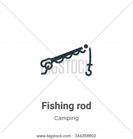 Fishing rod icon isolated on white background from camping collection. Fishing rod icon trendy and m