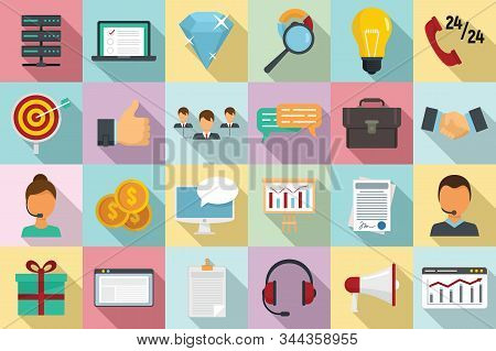 Crm Icons Set. Flat Set Of Crm Vector Icons For Web Design