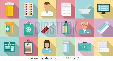 Pharmacist Icons Set. Flat Set Of Pharmacist Vector Icons For Web Design