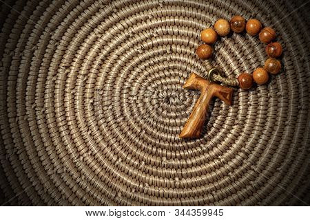 Tau, Wooden Cross In Shape Of The Letter T (religious Symbol Of St. Francis Of Assisi) With Rosary B