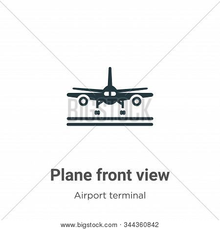 Plane front view icon isolated on white background from airport terminal collection. Plane front vie