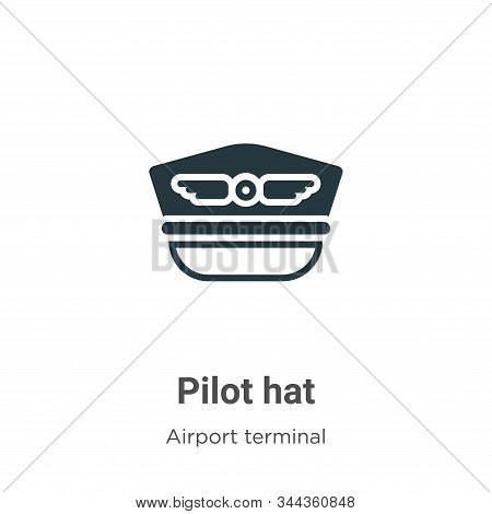 Pilot hat icon isolated on white background from airport terminal collection. Pilot hat icon trendy