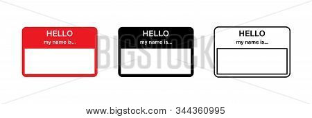 Hello My Name Is Red Vector Sticker. Blank Name Tag. Sticker Design. Red Name Tag. Eps 10
