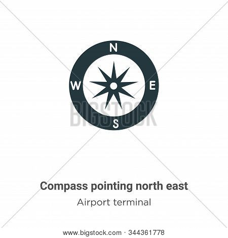 Compass pointing north east icon isolated on white background from airport terminal collection. Comp