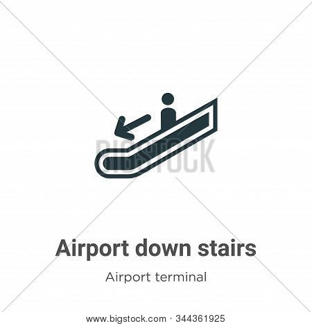 Airport down stairs icon isolated on white background from airport terminal collection. Airport down