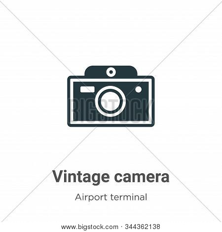 Vintage camera icon isolated on white background from airport terminal collection. Vintage camera ic