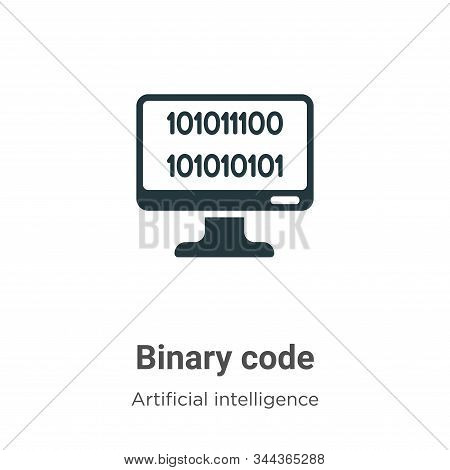 Binary code icon isolated on white background from artificial intelligence collection. Binary code i