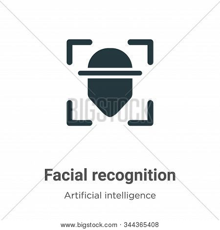 Facial Recognition Vector Icon On White Background. Flat Vector Facial Recognition Icon Symbol Sign