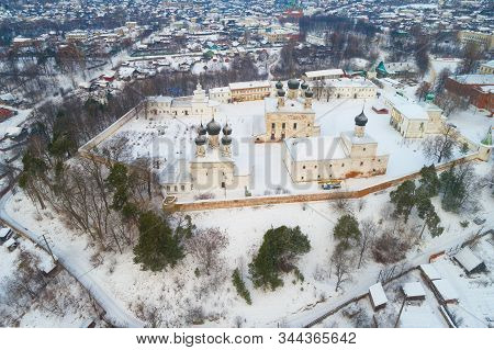 The Old Holy Trinity Makaryevo-unzhensky Monastery In The City Landscape On A Winter Day (aerial Pho