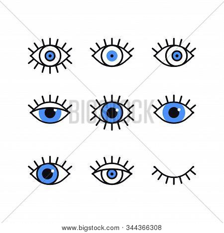 Open And Closed Eyes Line Icons Set On White Background. Look, See, Sight, View Sign And Symbol. Vec
