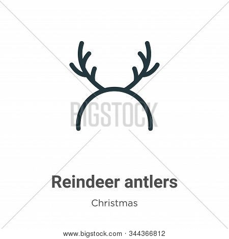 Reindeer Antlers Vector Icon On White Background. Flat Vector Reindeer Antlers Icon Symbol Sign From