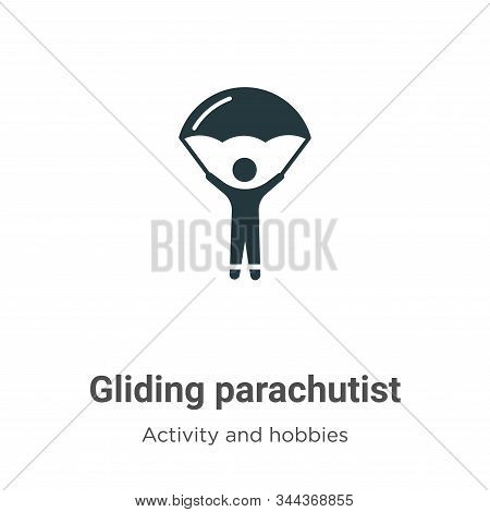 Gliding parachutist icon isolated on white background from activity and hobbies collection. Gliding