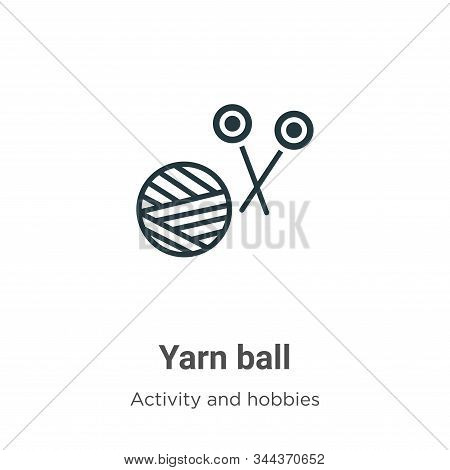 Yarn Ball Vector Icon On White Background. Flat Vector Yarn Ball Icon Symbol Sign From Modern Outdoo