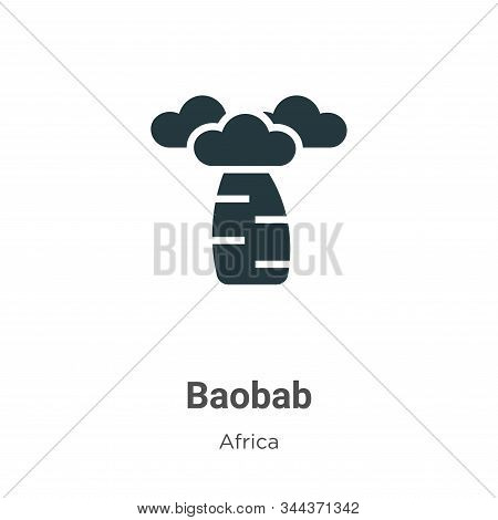 Baobab Vector Icon On White Background. Flat Vector Baobab Icon Symbol Sign From Modern Africa Colle