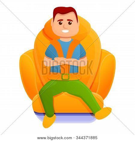 Kid Car Seatbelt Icon. Cartoon Of Kid Car Seatbelt Vector Icon For Web Design Isolated On White Back