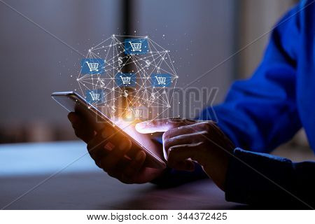 Business Using Smartphone,with Shopping Cart Icon,sale Volume Increase Make Business Growth And Shop