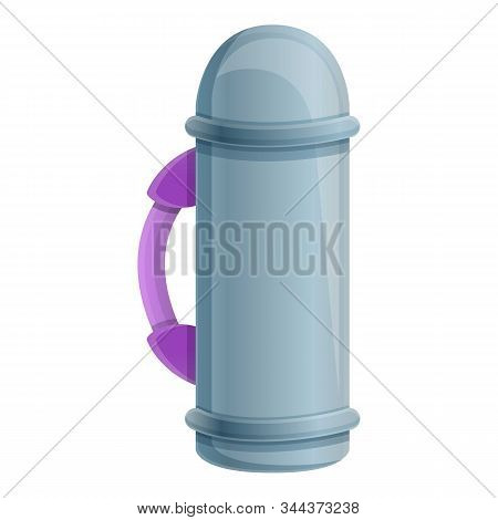 Stainless Thermo Bottle Icon. Cartoon Of Stainless Thermo Bottle Vector Icon For Web Design Isolated