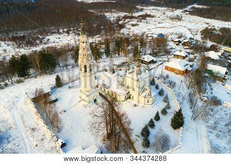 View Of The Transfiguration Cathedral In January Day (shooting From A Quadrocopter). Sudislavl. Kost