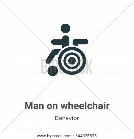 Man on wheelchair icon isolated on white background from behavior collection. Man on wheelchair icon