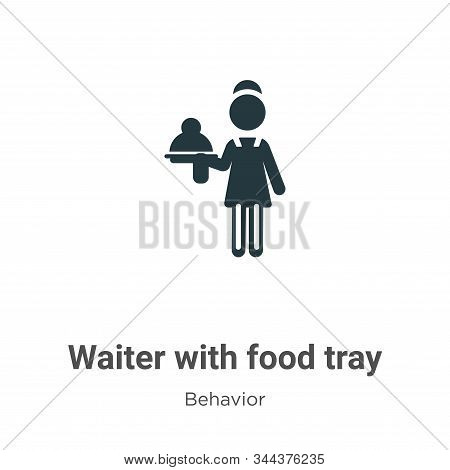 Waiter with food tray icon isolated on white background from behavior collection. Waiter with food t