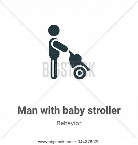 Man with baby stroller icon isolated on white background from behavior collection. Man with baby str