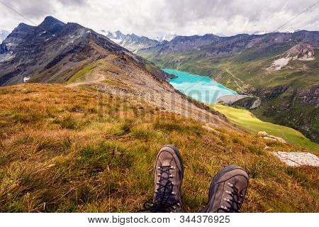 Enjoy Breathtaking View From The Top Of A Mountain On A Mountain Lake. First Person Perspective Of H