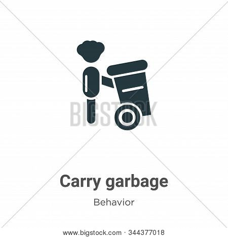 Carry Garbage Vector Icon On White Background. Flat Vector Carry Garbage Icon Symbol Sign From Moder