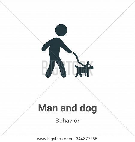 Man and dog icon isolated on white background from behavior collection. Man and dog icon trendy and