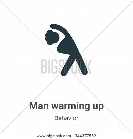Man Warming Up Vector Icon On White Background. Flat Vector Man Warming Up Icon Symbol Sign From Mod