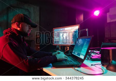 Hackers making cryptocurrency fraud using virus software and computer interface. Blockchain cyberattack, ddos and malware concept. Underground office. poster