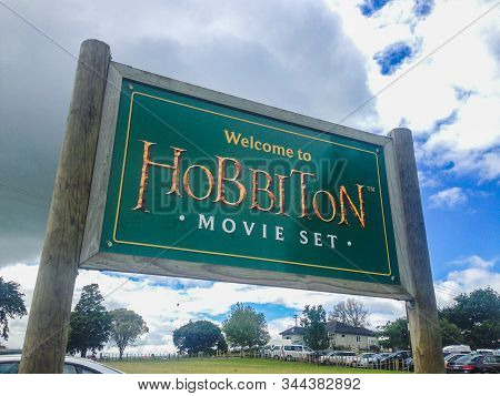 Matamata, New Zealand - December 12th 2019: Welcome To Hobbiton Movie Set. The Entrance Sign To The