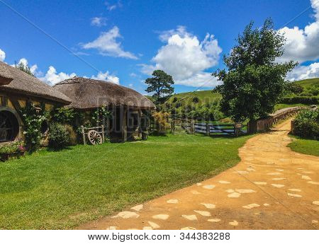 Matamata, New Zealand - December 12th 2019: Hobbiton Movie Set. The Famous Filming Location Of The H