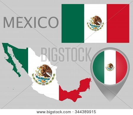 Colorful Flag, Map Pointer And Map Of The Mexico In The Colors Of The Mexican Flag. High Detail. Vec