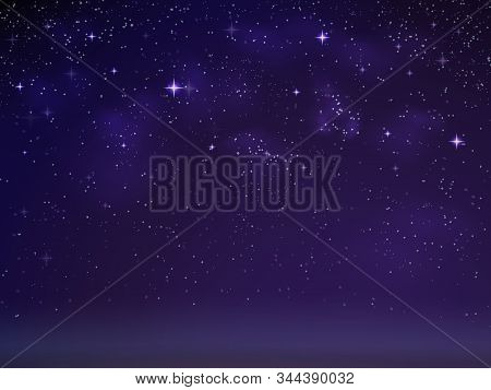 Vector Background Night Starry Sky With Nebulae And Constellations. Black, Blue And Purple Shades