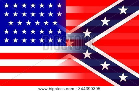 The Flag Of The Confederates And Union Forcesduring The American Civil War