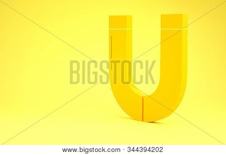 Yellow Magnet Icon Isolated On Yellow Background. Horseshoe Magnet, Magnetism, Magnetize, Attraction