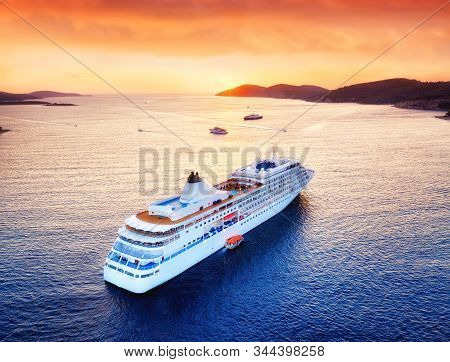 Aerial View At The Cruise Ship During Sunset. Adventure And Travel.  Landscape With Cruise Liner On