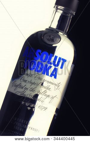 Bottle Of Swedish Absolut Vodka Close-up