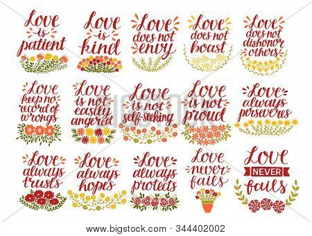 Set Of 15 Hand Lettering Quotes With Bible Verse Love Is Patient, Kind, Never Fails.