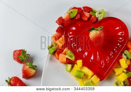 Strawberry Heart Shape Gelatin With Fruits On Valentines Day Or Wedding.