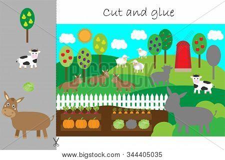 Farm Animals Cartoon, Education Game For The Development Of Preschool Children, Use Scissors And Glu